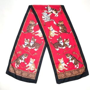 Vintage Silk Cat Kittens Kitty Red Black Scarf